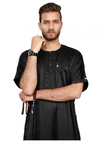 Half sleeve Black Polyester thoube