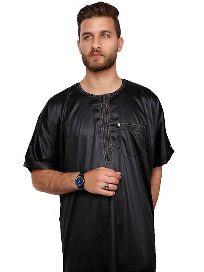 Half sleeve Black Polyester thoube