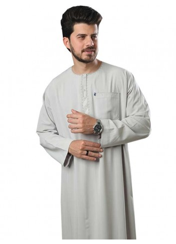 Long sleeve Embroidered thobe-color