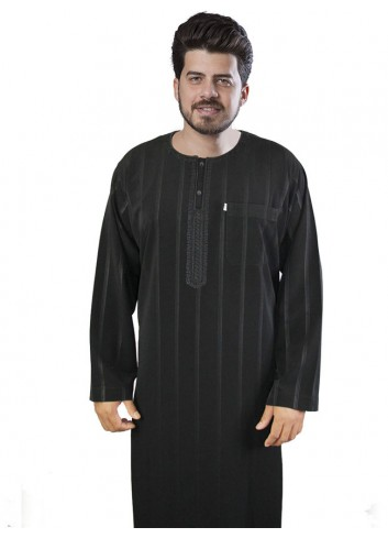 Long sleeve Embroidered thobe-Black