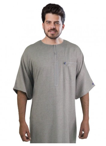 half sleeve Embroidered thobe-color